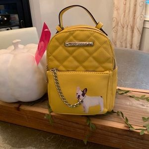 "BETSEY JOHNSON YELLOW ""FRENCHIE"" MINI BACKPACK"
